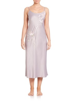 Natori Embroidered Charmeuse Gown