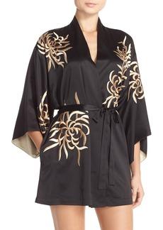 Natori 'Empress' Embroidered Charmeuse Robe