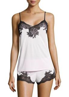 Natori Enchant Lace-Trim Two-Piece Pajama Set, Blush Pink/Black