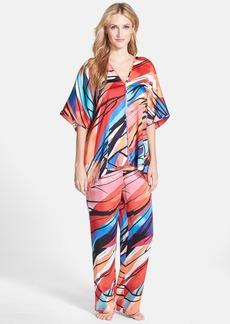 Natori 'Fiji' Print Kimono Sleeve Satin Pajamas
