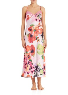 Natori Floral Charmeuse Gown