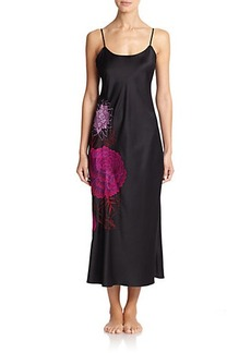 Natori Floral Embroidered Long Gown