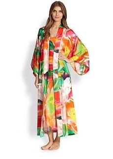 Natori Garbo Floral-Print Long Robe