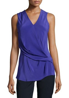 Natori Gathered Sleeveless Blouse, Cobalt
