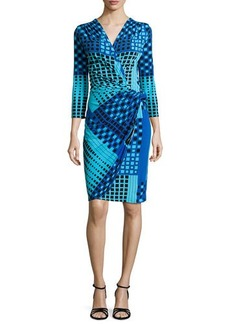 Natori Geometric-Print Faux-Wrap Dress