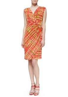 Natori Habi Plaid Faux-Wrap Dress