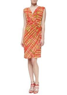 Natori Habi Plaid Faux-Wrap Dress