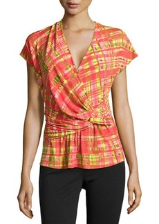 Natori Habi Wrap-Twist Plaid Top