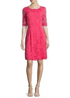 Natori Half-Sleeve Lace Dress