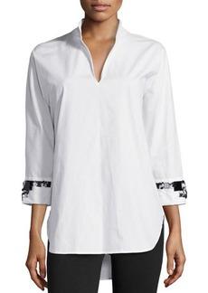 Natori Jeweled Cuff Blouse, White