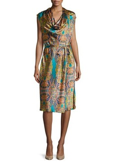 Natori La Pagode Printed Satin Dress