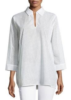 Natori Laser-Cut Cotton Blouse, White