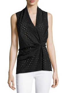 Natori Laser-Cut Sleeveless Blouse