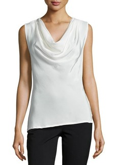 Natori Lilibeth Cowl-Neck Sleeveless Top, Blanc