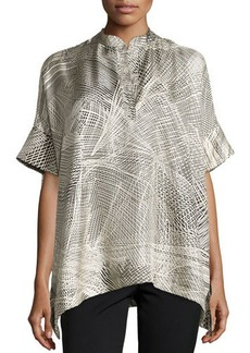 Natori Lines Silk Twill Top, Black/Ivory