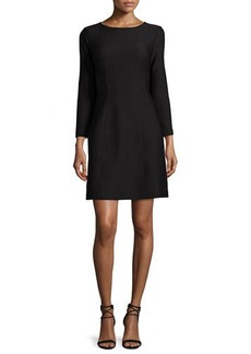 Natori Long-Sleeve Cloque Dress