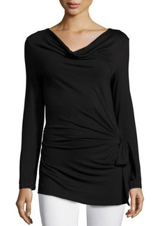 Natori Long-Sleeve Side-Tie Top