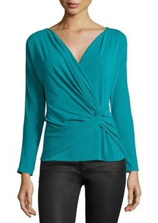 Natori Long-Sleeve Twist-Front Top