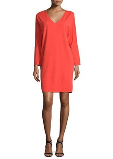 Natori Long-Sleeve V-Neck Shift Dress