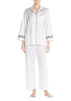 Natori 'Ming' Embroidered Cuff Pajamas