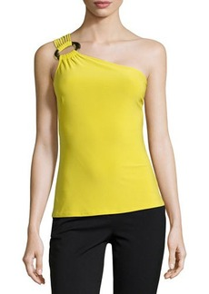 Natori One-Shoulder Jersey Tank, Key Lime