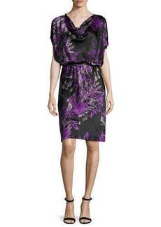 Natori Orient Cowl-Neck Blouson Dress