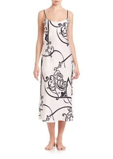 Natori Printed Charmeuse Gown