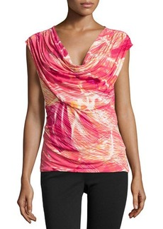 Natori Printed Cowl-Neck Top, Pink
