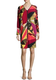 Natori Printed Jersey Kaleidoscope Long-Sleeve Dress, Multi