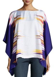 Natori Printed Prism Silk Caftan Top, Ink