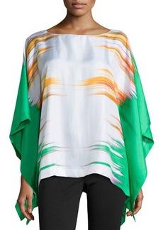 Natori Printed Prism Silk Caftan Top