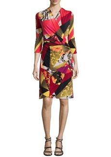 Natori Printed Wrap 3/4-Sleeve Dress, Multi