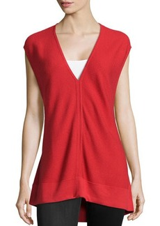Natori Ribbed V-Neck Sweater, Tomato Red