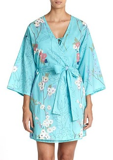 Natori Sakura Floral Cotton Wrap