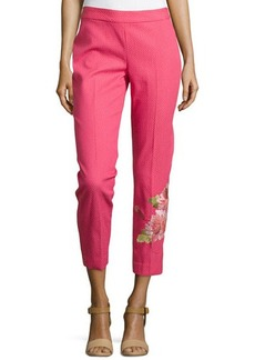 Natori Shibori Pique Floral Embroidered Pants, Rose