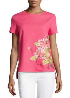 Natori Shibori Pique Floral Embroidered Top, Rose