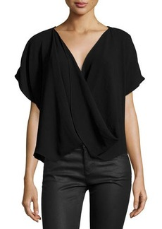 Natori Short-Sleeve Faux-Wrap Top