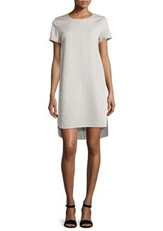 Natori Short-Sleeve Matelasse Shift Dress