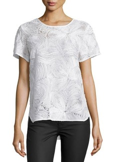 Natori Short-Sleeve Three-Dimensional Lace Top