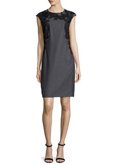 Natori Sleeveless Embroidered Sheath Dress
