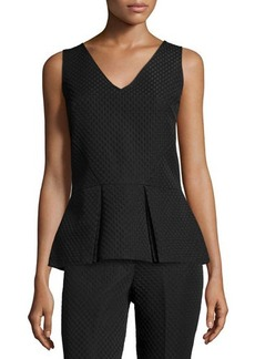 Natori Sleeveless Textured Peplum Top
