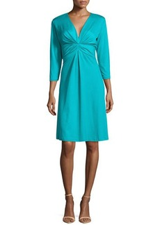 Natori Summit Pleated A-Line Dress, Deep Sea