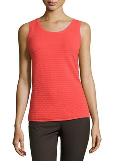 Natori Textured Knit Sweater Tank, Hot Coral