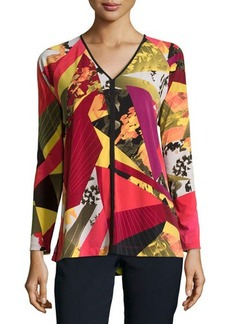 Natori V-Neck Long-Sleeve Printed Jersey Top