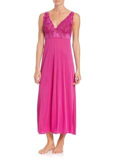 Natori Zen Floral Lace-Trim Gown