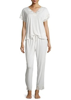 Natori Zen Short-Sleeve Pajama Set with Floral-Lace