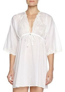 Paradise Lace-Trim Voile Sleep Shirt, White   Paradise Lace-Trim Voile Sleep Shirt, White