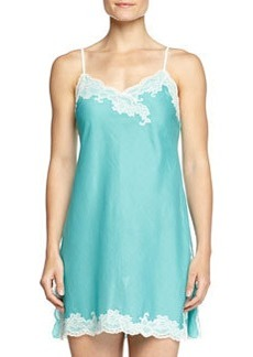 Paradise Voile Lace-Trim Chemise, Light Blue   Paradise Voile Lace-Trim Chemise, Light Blue