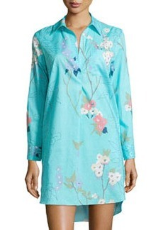 Sakura Cotton Floral-Print Sleepshirt, Light Blue   Sakura Cotton Floral-Print Sleepshirt, Light Blue