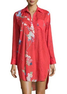 Sakura Cotton Floral-Print Sleepshirt, Red/Orange   Sakura Cotton Floral-Print Sleepshirt, Red/Orange